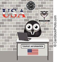 USA Tourist Information - Comical bird tourist guide with...