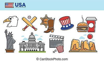 USA travel destination promotional poster with country...