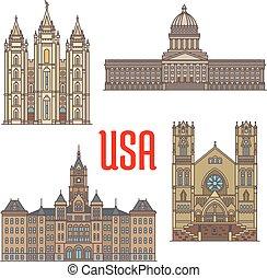 USA travel landmarks icon of Utah architecture