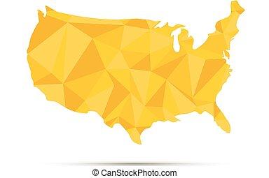usa, triangulated, map., gyllene, silhuett, på, white.