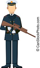 USA troop armed forces man with weapon illustration.