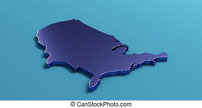 USA United States Map . 3D Render Illustration - USA Color...