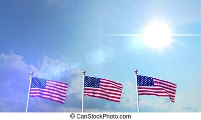 USA US 3 American Flags Waving Against Blue Sky CG Flare 4K