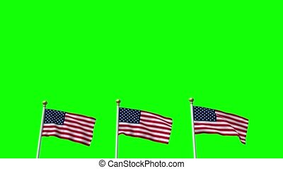 USA US 3 American Flags Waving Green screen CG Flare