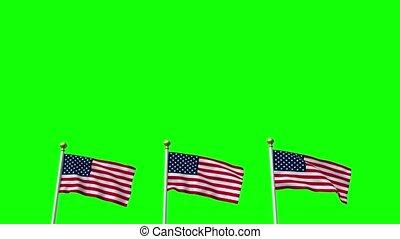 USA US 3 American Flags Waving Green screen CG Flare