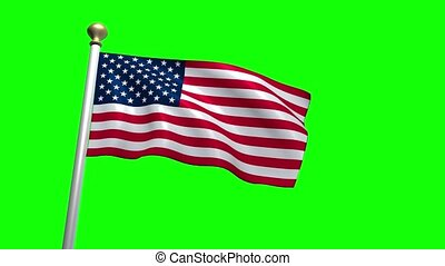 USA US American Flag Medium Shot Waving green screen CG Flare