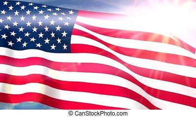 USA US Flags Closeup Waving Against Blue Sky CG Seamless Loop