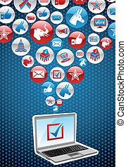 usa, választások, elektronikus, szavazás