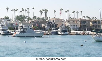 usa., vacances, yachts, marina, plage, luxe, beachfront, ...