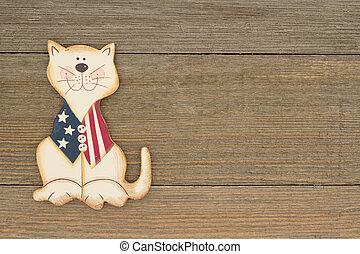 usa, vaderlandslievend, plezier, kat, op, een, verweerd hout, achtergrond