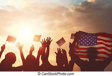 usa, vasthoudende vlag, mensen