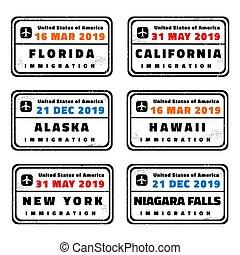 USA vector passport stamps