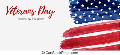 USA Veterans day background. Vector abstract grunge brushed...