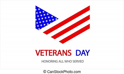 USA veterans day badge, art video illustration.