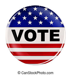 USA vote button with clipping path - Vote button inspired by...