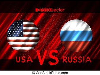 usa, vs, russland, runder , flaggen