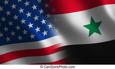 USA vs. Syria flag waving 3d. Transition. Alpha channel....