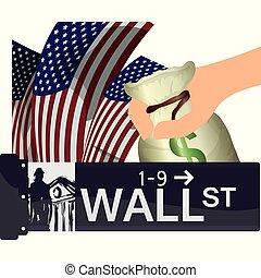 usa, wall street, york, färsk, ekonomi