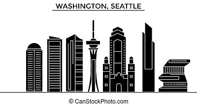 Usa, Washington, Seattle architecture vector city skyline, travel cityscape with landmarks, buildings, isolated sights on background