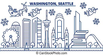 USA, Washington , Seattle winter city skyline. Merry Christmas and Happy New Year decorated banner. Winter greeting card with snow and Santa Claus. Flat, line vector. Linear christmas illustration
