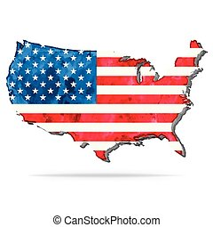 USA watercolor vector map with flag