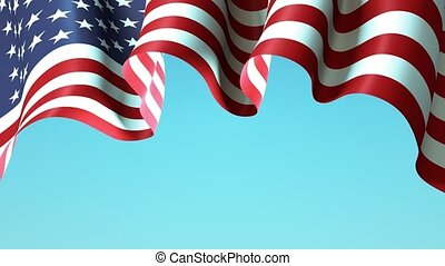 USA waving flag on blue sky for banner design. USA waving national flag animated background. Festive patriotic design. America holidays. Seamless loop