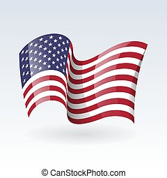 USA wavy flags. United States patriotic national symbol. Set of American flag. Icon. Print. Vector illustration. Isolated on white background.