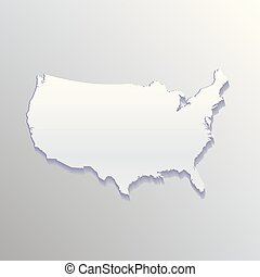 USA White Flat Map