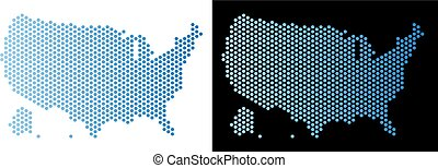 USA With Alaska Map Honeycomb Scheme