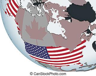 USA with flag on globe