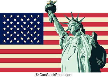 USA with Statue of Liberty Flag