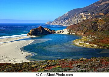 usa, wizje lokalne, pacyfik, szosa, ocean, wzdłuż, brzeg, kalifornia