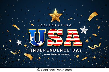 USA Word Text, American flag with golden design on blue background