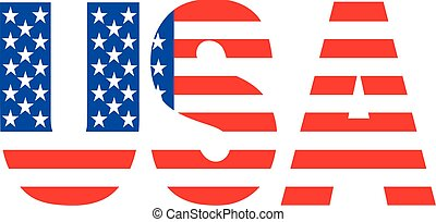 USA word with flag