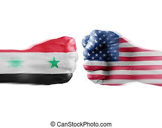 USA x Syria on white background