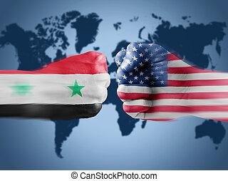USA x Syria on World Map background