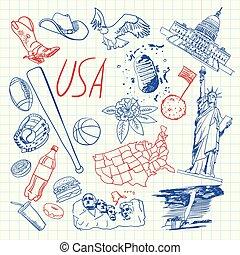 usa, zbiór, symbolika, pióro, wektor, pociągnięty, doodles