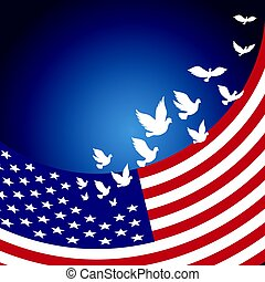 USAAmerican Flag with flying pigeon for Independence Day of...