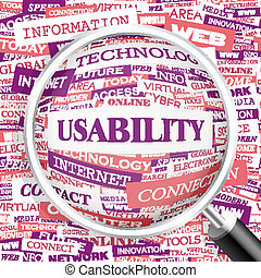 USABILITY. Concept illustration. Graphic tag collection....