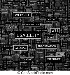 USABILITY. Seamless pattern. Word cloud illustration.