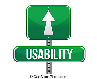 usability sign illustration design over a white background