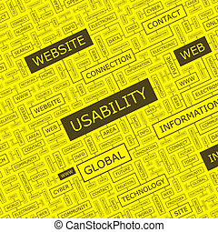 USABILITY. Word cloud illustration. Tag cloud concept...