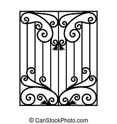 usable, フェンス, 手すり, 隔離された, 格子, 窓, 鉄, 背景, 白, 細工された, modules