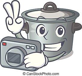 usado, alimento, fotógrafo, pote, cozinhar, caricatura, estoque