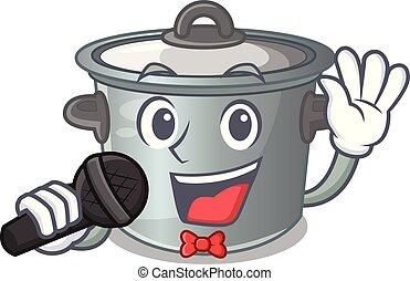 usado, alimento, pote, cozinhar, cantando, caricatura, estoque