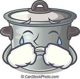 usado, alimento, pote, cozinhar, chorando, caricatura, estoque