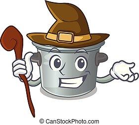 usado, alimento, pote, cozinhar, feiticeira, caricatura, estoque
