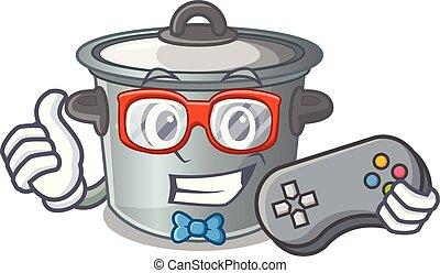 usado, alimento, pote, cozinhar, gamer, caricatura, estoque