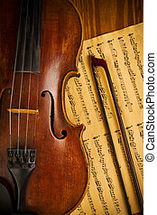 usado, antigas, cima, nota, violino, fim