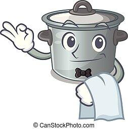 usado, garçom, pote, comida cozinhando, caricatura, estoque